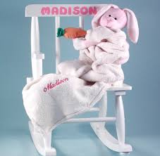 rocking chair personalized baby gift with baby blanket plush toy