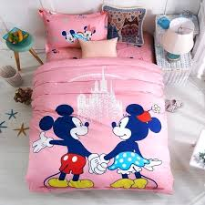 pink mickey mouse bedding sets girls bedroom decor cotton duvet cover minnie bed sheets