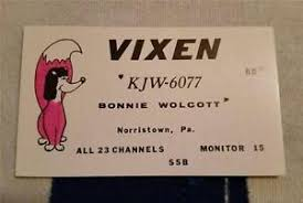 "HAM CB RADIO QSL Trading Card ""VIXEN - BONNIE WOLCOTT - NORRISTOWN ..."