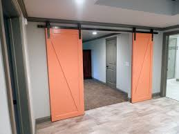 modern barn doors. This Contemporary Style Barn Door Was Finished In Behr Construction Zone Modern Doors