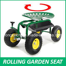 rolling garden work seat steerable with pad