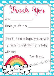 Blank Thank You Notes Kids Fill In The Blank Thank You Cards Rainbow Theme