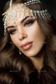 beautiful bride with wedding makeup and hairstyle attractive newlywed woman stock photo images