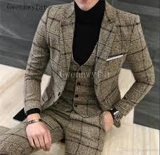 Latest Blazer Designs 2018 2018 Latest Designs Beige Printed Plaid Men Suit Custom Made Sizetuxedos Prom Mens Suits Tweed Casual Blazer Jacket Pants Vest Formal Trousers Mens