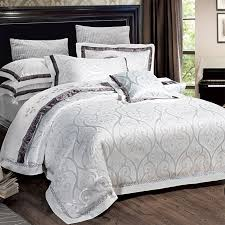 luxury silver white and black abstract ogee pattern sequin wedding themed embroidered design jacquard satin full queen size bedding sets