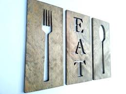 eat fork spoon kitchen art wooden plaques wall decor carved gifts and for giant