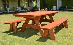 Free Picnic Table Designs Picnic Table Plans Detached Benches Table Design Ideas