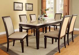 acme agatha 7pc white marble top rectangular dining room set in espresso by dining rooms