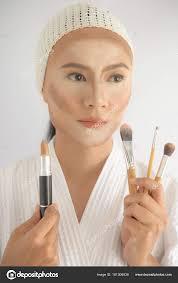 contouring makeup asian woman face contour highlight makeup stock photo