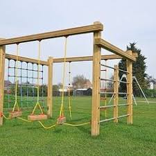 This multi-play playground equipment includes a net climbing frame and  allows multiple children to