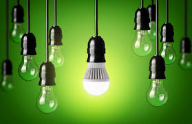 led bulb and simple light bulbs green background