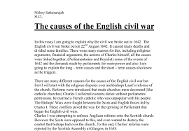 the causes of the english civil war a level history marked by document image preview