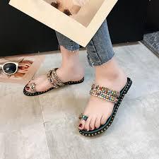 Designer Flip Flops Womens Us 18 65 16 Off Summer Beach Slippers Boho Flip Flops Womens New Designer Flip Flops Flat Sandals 2019 New Korean Women Slippers For Summer 15 In