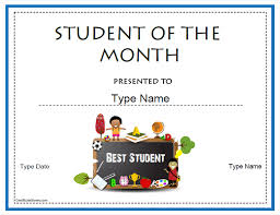Student Of The Month Certificates Downloadable Student Of The Month Certificate Templates Free
