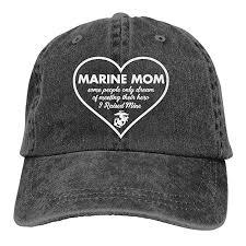Akfj Nkja Marine Mom Raised My Hero Unisex Trucker Hats Dad Baseball Hats Driver Cap