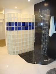colored frosted glass block shower