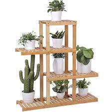 mics bamboo wood plant display rack stand shelf flower pots holder 4 tier utility shelving standing unit storage organizer rack for living room