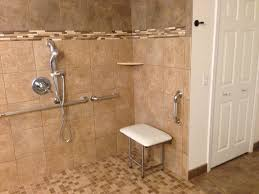 decorative ceramic tile shower with integrated bench system