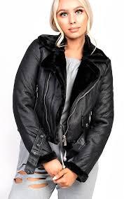 lizzie biker faux leather fur jacket