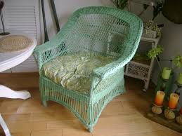 painted wicker furnitureGreen Painted Wicker Chair  Bevs Attic