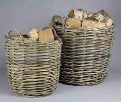 log baskets circular rattan wood and turf baskets