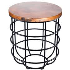 Iron Coffee Table Base Axel Iron Side Table With Round Hammered Copper Top