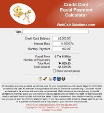 Cc Payoff Calculator Cc Equal Payment Calculator Information Webcalcsolutions Com
