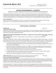 Environmental Scientist Resume Sample Environmental And