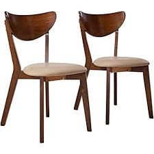 coaster home furnishings kersey mid century modern scandinavian upholstered seat cushion bentwood dining side chair set of 2 chestnut beige fabric