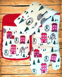 kate spade kitchen towel oven mitt pot holder set holiday village 3pc