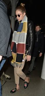 gigi hadid s colorblock scarf and gucci loafers look for less