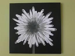 painting ideas flower acrylics black white diy art