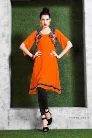 Kurta Designs In Nepal Orange Color Designer Party Wear Unique Stylish Kurti From