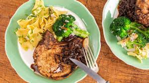 Remove from the oven, transfer to a cutting board. Emeril S Thin Cut Pork Chops With Rosemary Balsamic Glazed Shallots Rachael Ray Show