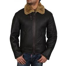 men s sheepskin shearling brown leather jacket with fur collar