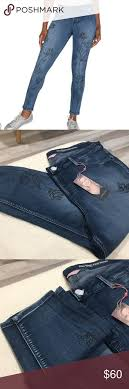 Plus Size Denim Water Paint Skinny Pull On Jeans New Never