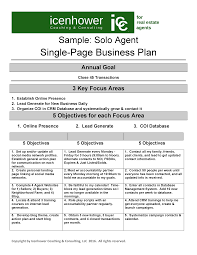 Real Estate Coaching The One Page Real Estate Business Plan
