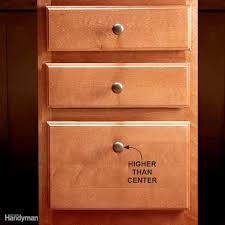 How to Install Cabinet Hardware | Family Handyman Install Hardware Higher  on the Lowest Drawer