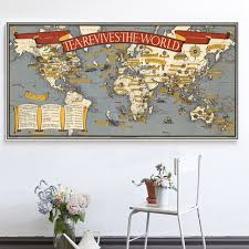 vintage tea revives the world map painting on canvas wall art painting pictures home decor for
