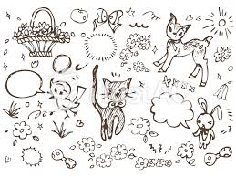 手書きガーリーイラスト素材集可愛い花猫イラスト No 488299無料
