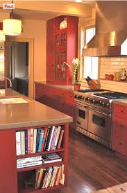 Red country kitchens Classic Red Red Country Kitchens Colorado Family Kitchen With Red Cabinets Island And Range Wall Red Atticmag Red Country Kitchens Atticmag