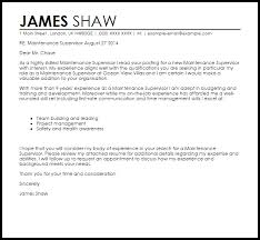 Cover Letter Sample For Supervisor Position Maintenance Supervisor Cover Letter Sample Cover Letter