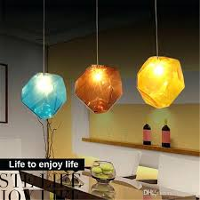 3 light pendant fixture colorful crystal glass stone lighting 1 3 heads base indoor creative color