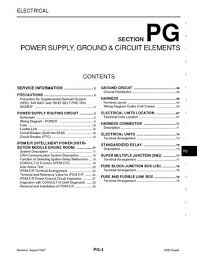 2008 nissan quest power supply ground circuit elements 2008 nissan quest power supply ground circuit elements section pg 79 pages