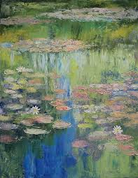 water painting water lily pond by michael creese