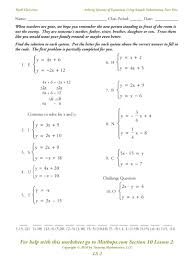 systems of equations in three variables worksheet math solving systems of equations by substitution worksheet answers