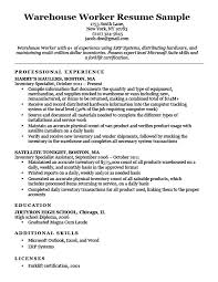 Warehouse Resume Examples Simple Warehouse Worker Resume Sample Resume Companion
