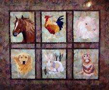 Horse Quilt Pattern | eBay & QUILTED MENAGERIE Art Quilt-Seams Like Home-horse rooster lamb retreiver  bunny Adamdwight.com