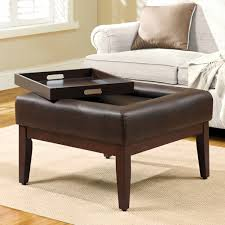 simple modern square tufted ottoman coffee table with tray storage built in dark brown leather top and high wooden legs ideas