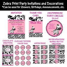 Baby Shower Invitation Card Pink Feet Invitation Zebra BabyPink Zebra Baby Shower Invitations